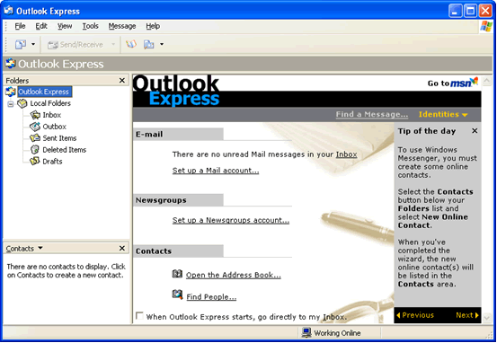 Outlook Express email client